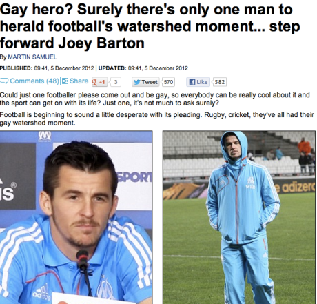 (Disclaimer: this blog believes Martin Samuel is bigoted as much as it believes Joey Barton is gay)